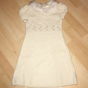 Gymboree White Sweater Dress with Faux Fur Collar